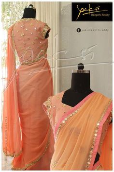 Beautiful peach blouse and sari