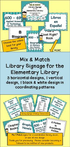 Included in this packet are 220+ pages of signage for an elementary library. There are 5 different designs, including a black & white design, in coordinating colors so that signage can enhance your library decor. $