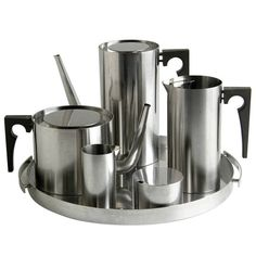 View this item and discover similar for sale at - Cylinda-Line stainless steel coffee and tea service designed in 1967 by Arne Jacobsen for Stelton. The set includes: coffee pot- w x d x h Antique Furniture, Modern Furniture, Swan Chair, Tea Cafe, Arne Jacobsen, Tea Service, Ancient China, Scandinavian Design, Tea Set