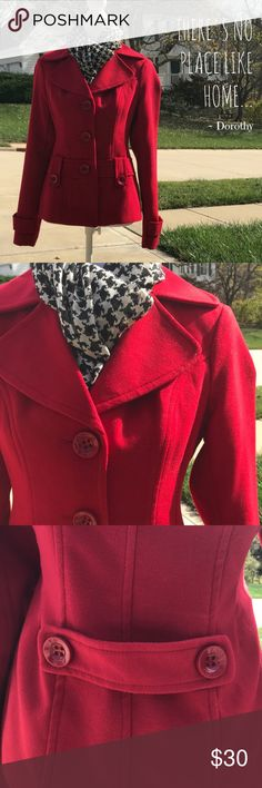 "Simple Chic Sale  Red Pea Coat Beautiful Red Peacoat in pristine condition. Size Medium. Measures 18"" armpit to armpit laying flat. Length from upper shoulder seam to bottom hem is 23"". 100% Polyester. Dry clean. Jackets & Coats Pea Coats"