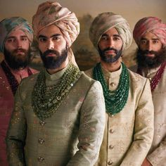 Mens wear by Sabyasachi Mukherjee. The men wear pale hand-embroidered raw silk sherwanis and hand-printed organza safas in water colour hues. Their necks are lavishly adorned with Zambian and Russian. Sherwani For Men Wedding, Wedding Dresses Men Indian, Sherwani Groom, Wedding Dress Men, Wedding Men, Wedding Suits, Vogue Wedding, Wedding Groom, Wedding Ideas