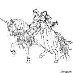 Coloriage cheval et princesse Dessin à Imprimer
