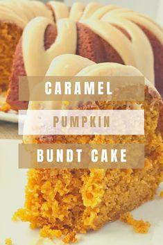 Caramel pumpkin bundt cake is so moist, perfectly pumpkin spiced and topped with a homemade salted caramel frosting. The best pumpkin bundt cake. Köstliche Desserts, Delicious Desserts, Yummy Food, Non Chocolate Desserts, Autumn Desserts, Chocolate Tarts, Pumpkin Bundt Cake, Pumpkin Dessert, Chocolate Pumpkin Cake