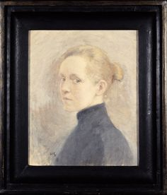 Helene Schjerfbeck Self-portrait in x 30 cm, oil on canvas. Painting is one of the artist's earliest self portraits. Schjerfbeck expert Leena Ahtola-Moorhouse, the book is the period when the artist felt that they change in. Helene Schjerfbeck, Edouard Manet, Pointillism, Helsinki, Monet, Impressionist, Finland, The Book, Oil On Canvas