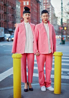 @dapperQ TOMBOYISH NYE style inspo takeover: A love story with Michelle Harper and Jenny Shimiziu, featuring looks with pinks that POP! #Twinning