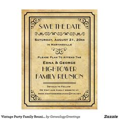 Vintage Party Family Reunion Wedding Save the Date