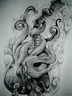octopus breaking a guitar by JWheelwrighttattoos.deviantart.com on @deviantART