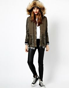 Image 4 ofRiver Island Double Layer Quilted Parka