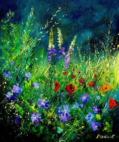 Wild Flowers by Pol Ledent - Wild Flowers Painting - Wild Flowers Fine Art Prints and Posters for Sale
