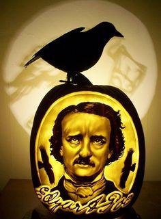 Edgar Allan Poe carved pumpkin