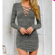 Stylish Plunging Neck Criss-Cross Sweater Dress COMING SOON New - Retail! Available in gray. In S, L, and XL sizes, please comment bellow if you're interested and in what color and size. Will be ordering soon. The retail price will be $35. Ask for a separate listing. Thank you!! Dresses Mini