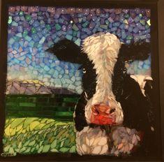 Stained Glass mosaic Holstein cow, courtesy of Kickin' Glass Kansas.