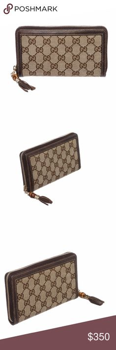 Gucci Beige Brown Leather Zipper Tassel Wallet Overall zip around closure.  Interior is leather lined and contains twelve credit card slip pockets, one zipper coin pocket and three compartments. Exterior contains hanging tassel on zipper pull and leather trimming.  Shop AUTHENTIC Gucci wallets at MARQUE SUPPLY COMPANY.  2410MSC Gucci Bags Wallets