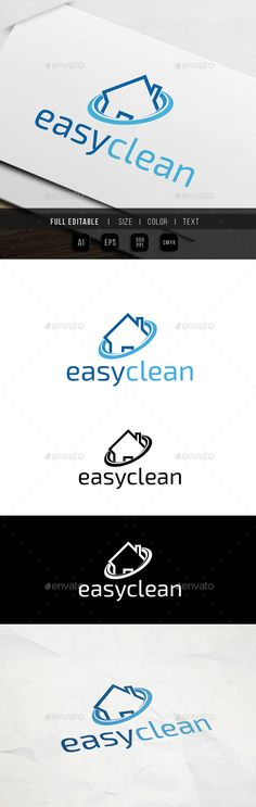 Cleaning Service by yip87 Home cleaning service house logo template 100 Vector Color Variations : Full colors, Black, White File Format : AI & EPS Color