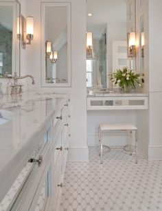 White bathroom with mirrored cabinets
