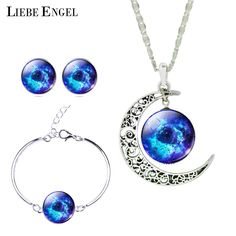 Liebe engel最新シルバーカラージュエリーガラスgalaxyジュエリーセット声明ネックレススタッドピアス腕輪ブレスレット用女性