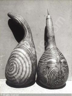SCHOON Theo - Two Gourds with Stylized Maori Designs