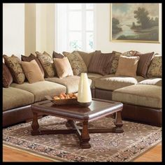 Blended Leather U0026 Chenille Modular Sectional