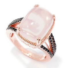 NYC II® 14 x 10mm Cushion Shaped Rose Quartz & Black Spinel Ring
