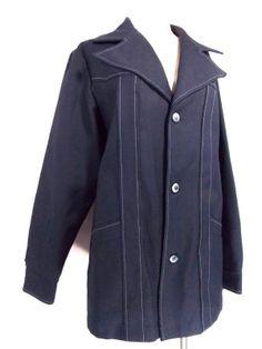 VINTAGE 70s Rockabilly Jacket Sz L Navy Disco Blazer MOD Western Indie Polyester