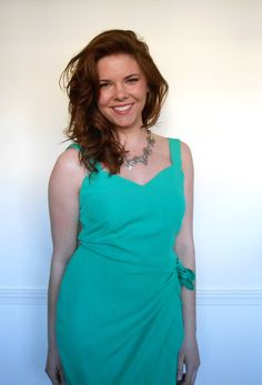 90s Mini WRAP dress in EMERALD GREEN with bow by vivatiger on Etsy, $28.00