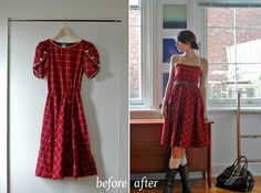 an amazing before and after dress revamp