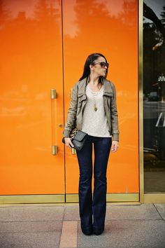 Charlotte Russe black platform ::  J Brand flare love story jeans ::  All Saints leather moto jacket :: Linell Ellis Alice clutch in black & leopard clutch :: Michael Kors belt :: Sparkle & Fade sweater :: Charlotte Russe over sized sunnies :: Fall outfit inspiration