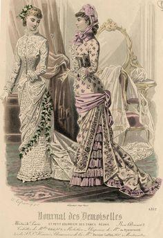 Journal des Demoiselles 1881 Victorian Era Fashion, 1880s Fashion, Victorian Photos, Europe Fashion, Fashion History, Vintage Fashion, Victorian Dresses, Gravure Illustration, Retro Mode