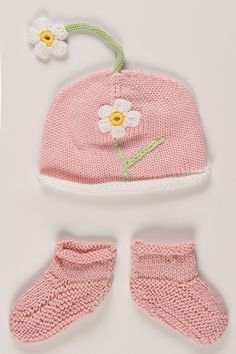 Hadley Handcrafted Knit Hat and Booties in Pink