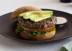 California Avocado Steakhouse Burger Recipe-This beef and veggie burger adds extra produce to your burger patty making it more flavorful and juicy Steakhouse Burger Recipe, Best Burger Recipe, Burger Recipes, Pork Recipes, Lunch Recipes, Ranch Burgers, My Favorite Food, Favorite Recipes, Beef Steak