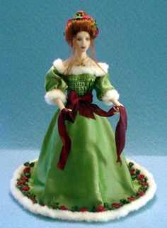 Miniature Porcelain Christmas Doll by Camille Townsend