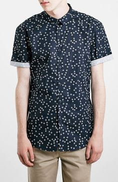 Topman Slim Fit Floral Print Short Sleeve Shirt available at #Nordstrom