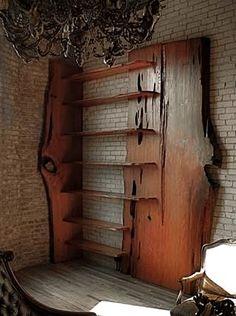 A Contemporary custom built bookshelf from a oak tree.