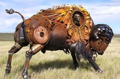 Amazing Sculptures Out of Old Farm Tools