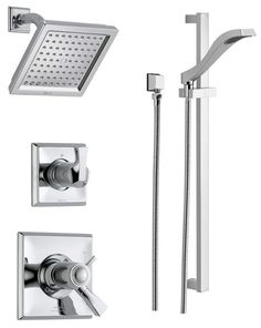 Buy the Delta Chrome Direct. Shop for the Delta Chrome Monitor 17 Series Dual Function Pressure Balanced Shower System with Integrated Volume Control, Shower Head, and Hand Shower - Includes Rough-In Valves and save. Shower Arm, Shower Faucet, Sink Faucets, Delta Dryden, Bar Dimensions, Shower Holder, Slide Bar, Shower Panels, Custom Shower