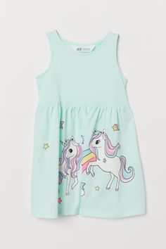 H&M Sleeveless Jersey Dress - Green Cute Outfits For Kids, Toddler Girl Outfits, Toddler Fashion, Trendy Outfits, Kids Fashion, Girls Fashion Clothes, Fashion Outfits, Kids Dress Wear, Light Mint Green