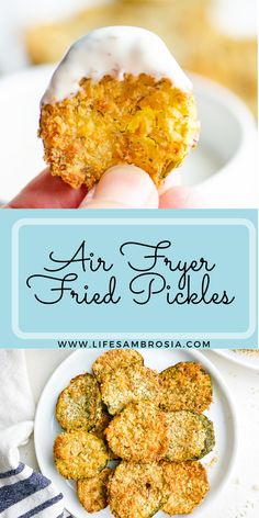 The crispy goodness of fried pickles with a fraction of the oil! Air Fryer Fried Pickles are a must for your next game day party. www.lifesambrosia.com for the full recipe.