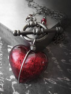 Heart of Darkness  Red Heart Pendant Necklace Red by ShySiren