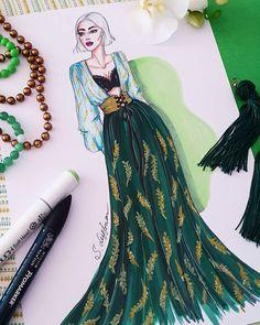 이미지: 사람 1명 Dress Design Drawing, Dress Design Sketches, Fashion Design Sketchbook, Fashion Design Drawings, Fashion Sketches, Fashion Figure Drawing, Fashion Drawing Dresses, Fashion Illustration Dresses, Fashion Drawing Tutorial