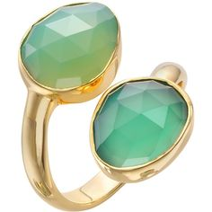 John Lewis Gemstones Gold Plated Onyx Stacked Two Tear Drop Ring, Green featuring polyvore fashion jewelry rings green jewelry gem jewelry gemstone jewelry stackable gemstone rings stacking rings jewelry