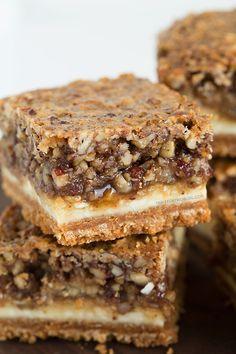 Hazelnut pecan cheesecake bars