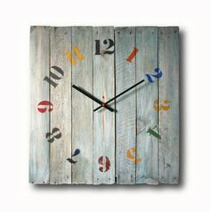 Old board clock Wall clock Home decor Original clock by Inthetime