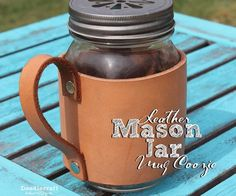 Leather Mason Jar Mug Coozie!Turn a pint sized jar into a rustic looking mug with a simple leather jacket! Great gift for fathers and other guys! Great life hack for handleless jars!Perfect for a Summer barbecue on the patio!This doesn't take much leather-working skills or NEED specialized tools.In my experience, specialized tools make a job easier...but are not always necessary.