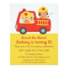 Red Fire Truck and Fire fighter Boy Birthday Party 4.25x5.5 Paper Invitation Card