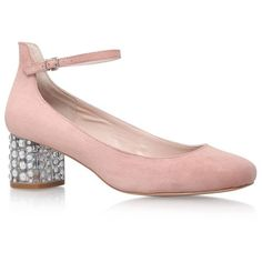 Carvela Kurt Geiger Guess Embellished Pumps ($65) ❤ liked on Polyvore featuring shoes, pumps, ankle wrap pumps, pale pink shoes, embellished shoes, ankle tie shoes and mary jane shoes