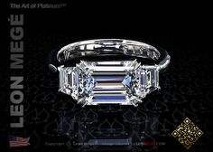 Custom East-West emerald cut engagement ring with trapezoid side stones by Leon Megé