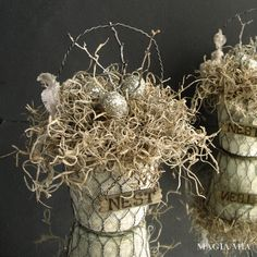 Magia Mia: Rustic Elegant Nest Baskets with Peat Pots & Chicken Wire