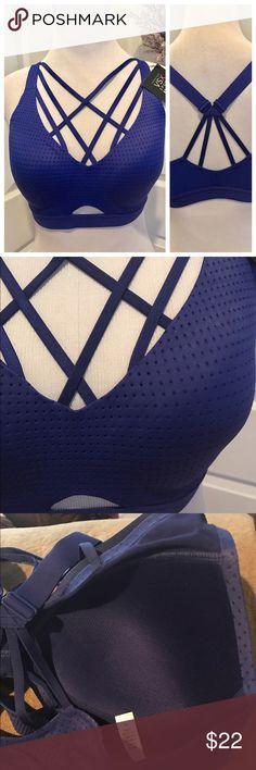 Victoria's Secret lightweight strappy sports bra Brand new, super cute strappy look, and so so comfy. Medium support, wireless, body wicking fabric. Size 34C Victoria's Secret Intimates & Sleepwear Bras