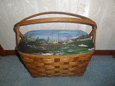 Antique Vintage Hand Woven Wicker Picnic Basket by Antiquescove, $65.00