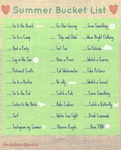 FREE Summer Bucket List Printable!